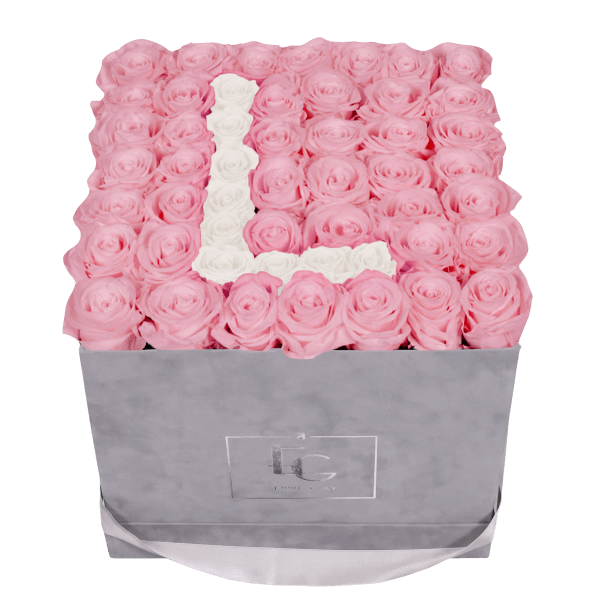 LETTER INFINITY ROSEBOX | BRIDAL PINK & PURE WHITE | L
