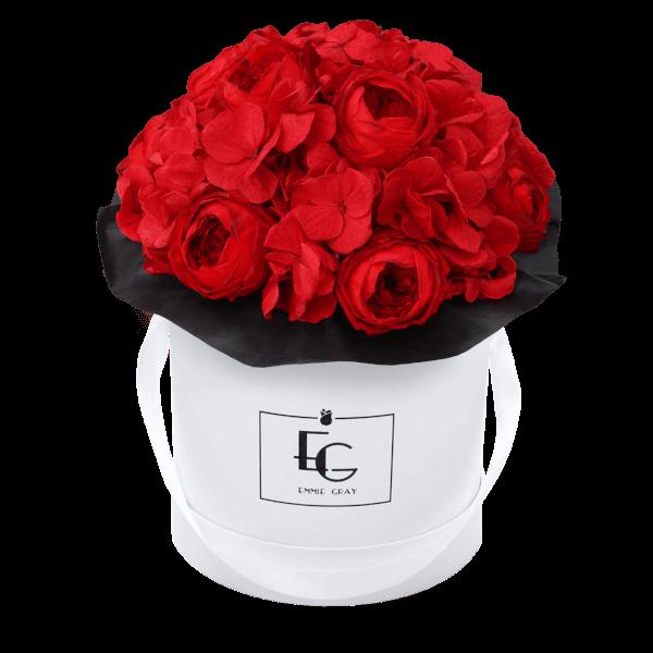 Splendid Peony Mix Infinity Rosebox   Vibrant Red   S