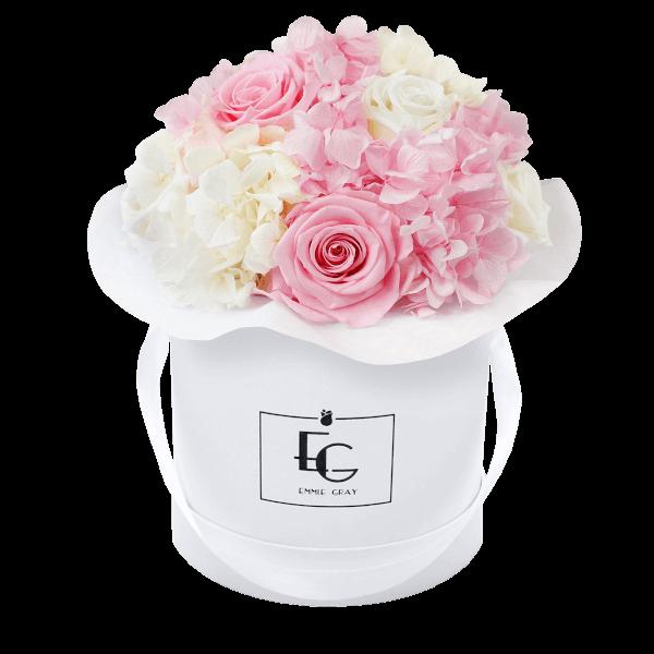 Splendid Hydrangea Mix Infinity Rosebox | Bridal Pink & Pure White | S