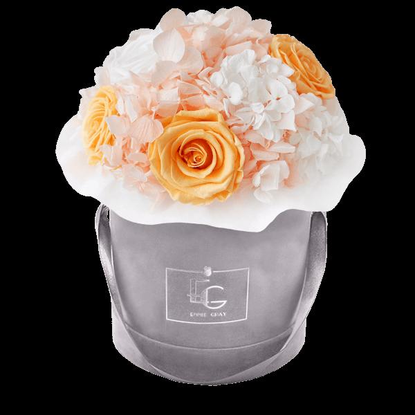 Splendid Hydrangea Mix Infinity Rosebox | Perfect Peach & Pure White | S