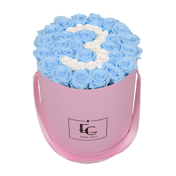 NUMBER INFINITY ROSEBOX | BABY BLUE & PURE WHITE | L