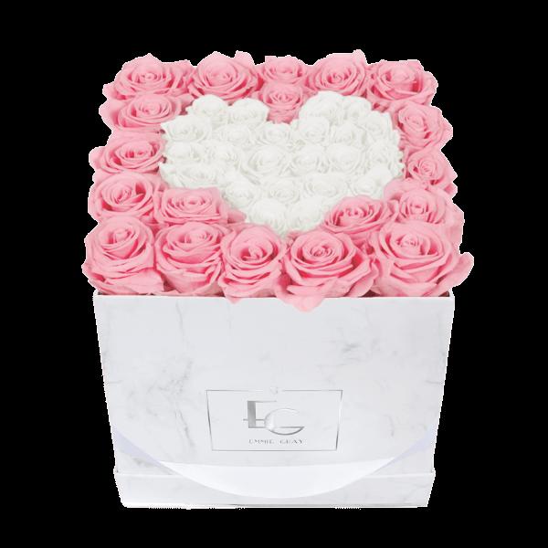Heart Symbol Infinity Rosebox   Bridal Pink & Pure White   M