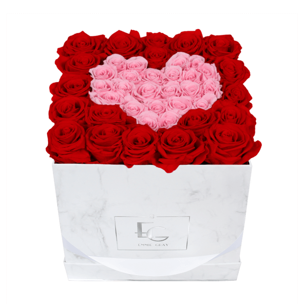 Heart Symbol Infinity Rosebox   Vibrant Red & Bridal Pink   M