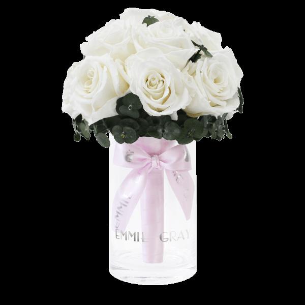 Romantic Eucalyptus Infinity Bouquet   Pure White   S