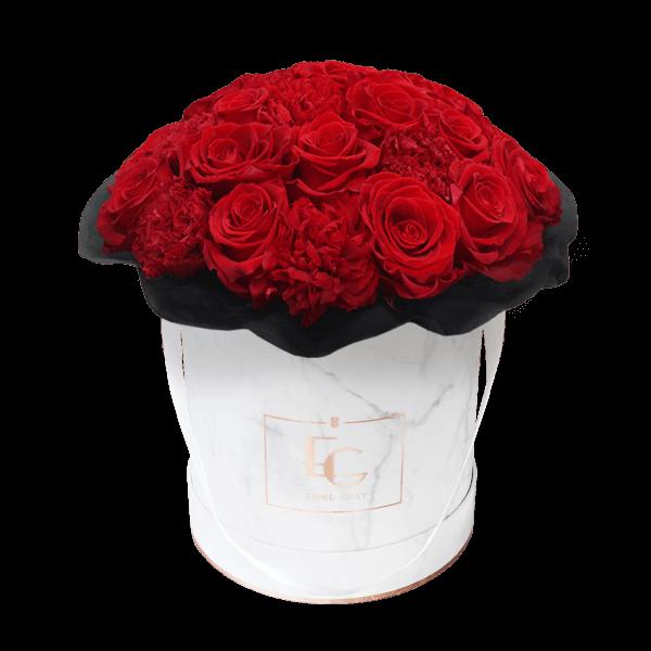 Splendid Carnation Infinity Rosebox | Vibrant Red | M