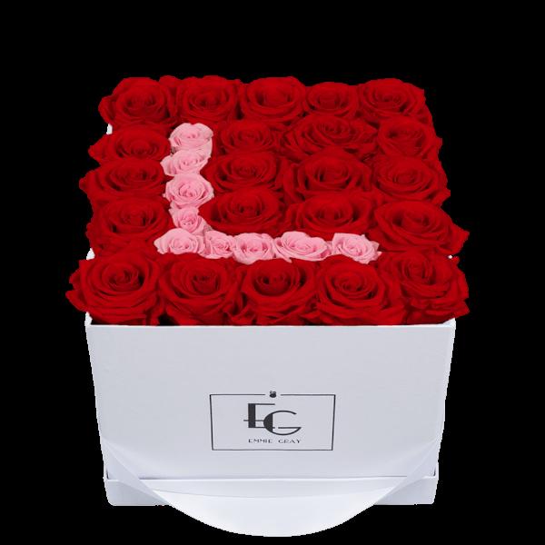 LETTER INFINITY ROSEBOX   VIBRANT RED & BRIDAL PINK   M