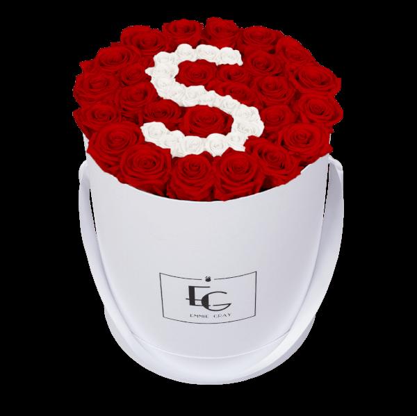 LETTER INFINITY ROSEBOX | VIBRANT RED & PURE WHITE | L