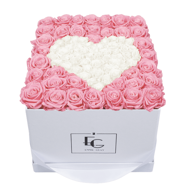 HEART SYMBOL INFINITY ROSEBOX | BRIDAL PINK & PURE WHITE | L