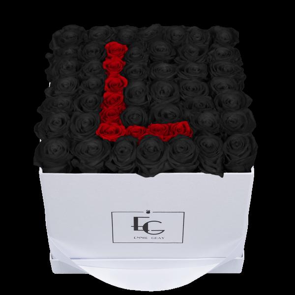 LETTER INFINITY ROSEBOX | BLACK BEAUTY & VIBRANT RED | L