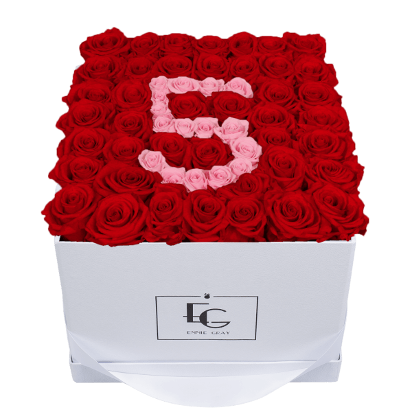 NUMBER INFINITY ROSEBOX | VIBRANT RED & BRIDAL PINK | L