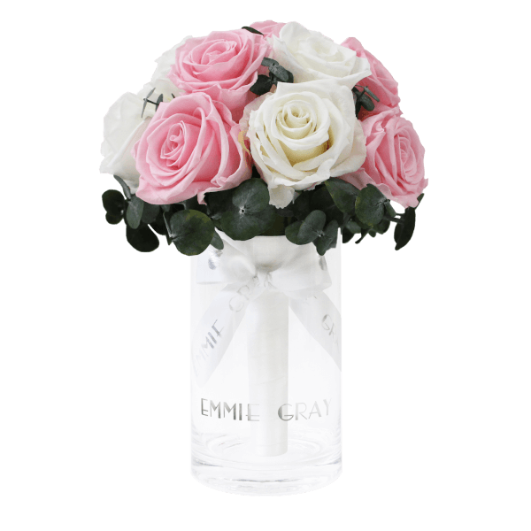Romantic Eucalyptus Infinity Bouquet | Bridal Pink & Pure White | S