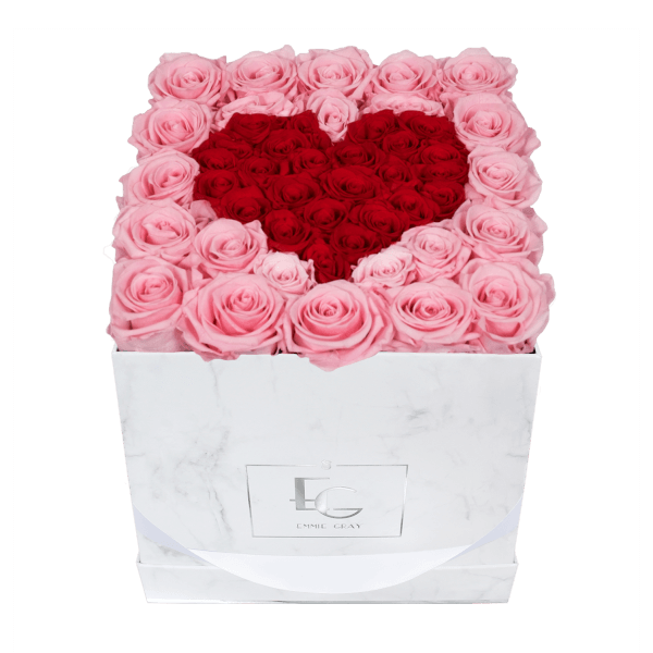 Heart Symbol Infinity Rosebox | Bridal Pink & Vibrant Red | M