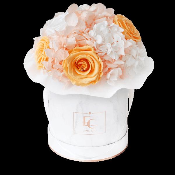 Splendid Hydrangea Mix Infinity Rosebox   Perfect Peach & Pure White   S