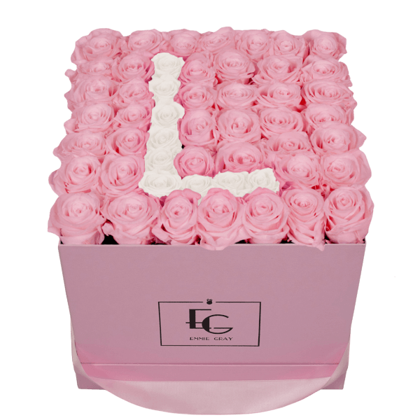 LETTER INFINITY ROSEBOX   BRIDAL PINK & PURE WHITE   L