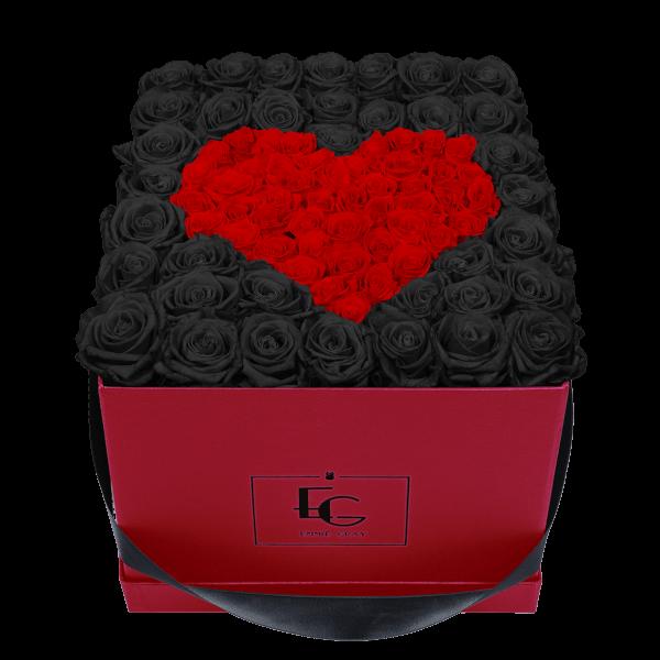 HEART SYMBOL INFINITY ROSEBOX | BLACK BEAUTY & VIBRANT RED | L