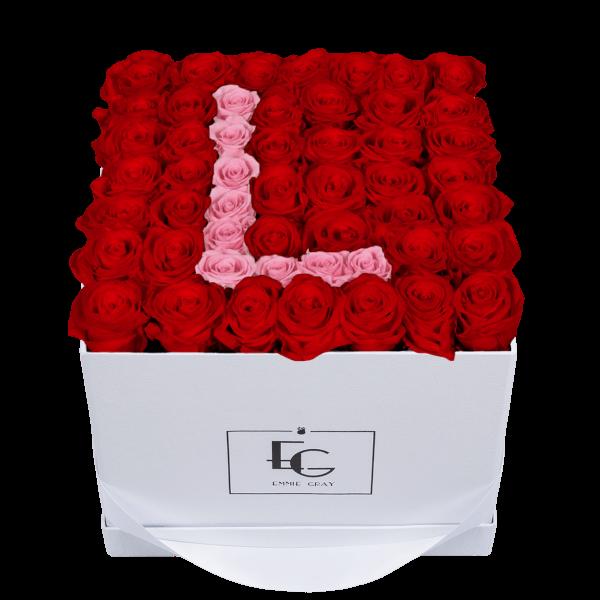 LETTER INFINITY ROSEBOX | VIBRANT RED & BRIDAL PINK | L