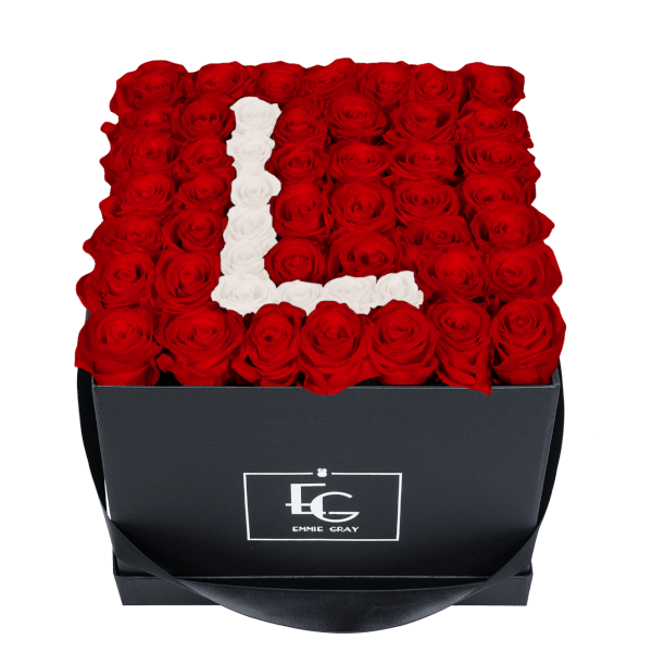 LETTER INFINITY ROSEBOX | VIBRANT RED & PURE WHITE | L