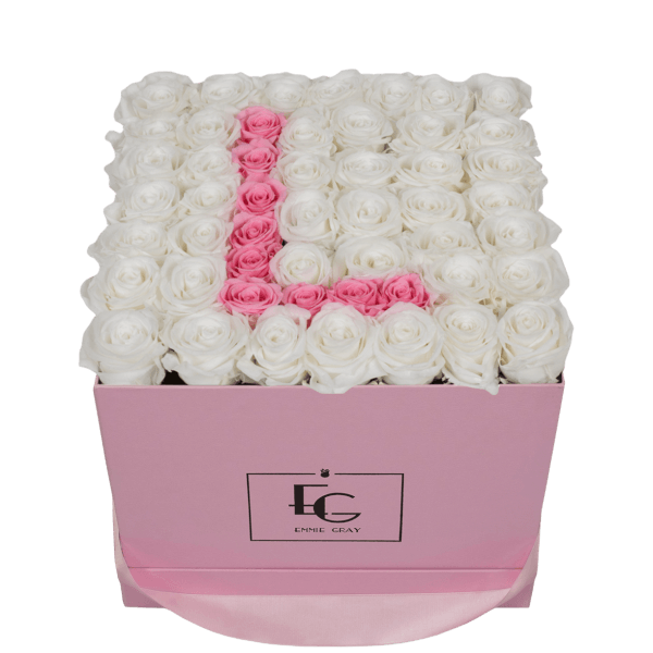 LETTER INFINITY ROSEBOX   PURE WHITE & BRIDAL PINK   L