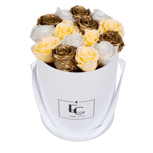 MIX INFINITY ROSEBOX | CHAMPAGNE & GOLD & PURE WHITE | M