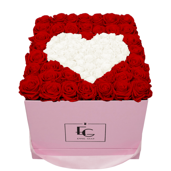 HEART SYMBOL INFINITY ROSEBOX | VIBRANT RED & PURE WHITE | L