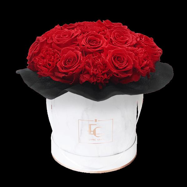 Splendid Carnation Infinity Rosebox   Vibrant Red   S