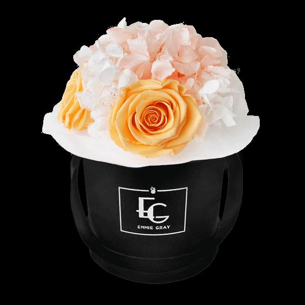 Splendid Hydrangea Mix Infinity Rosebox | Perfect Peach & Pure White | XS