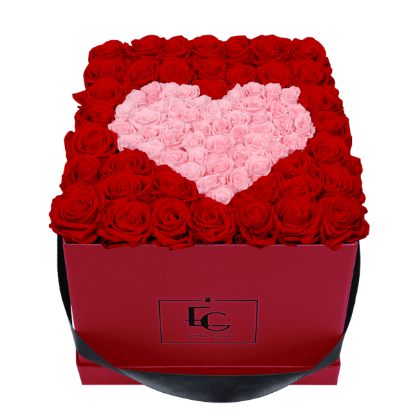 HEART SYMBOL INFINITY ROSEBOX | VIBRANT RED & BRIDAL PINK | L