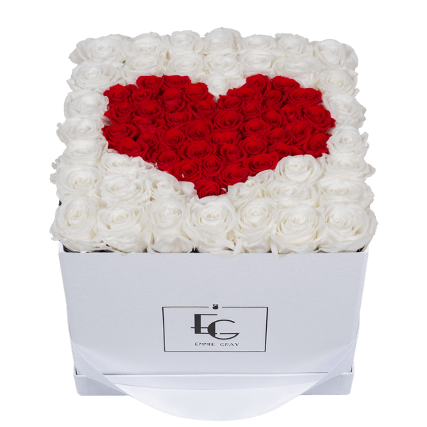 HEART SYMBOL INFINITY ROSEBOX | PURE WHITE & VIBRANT RED | L