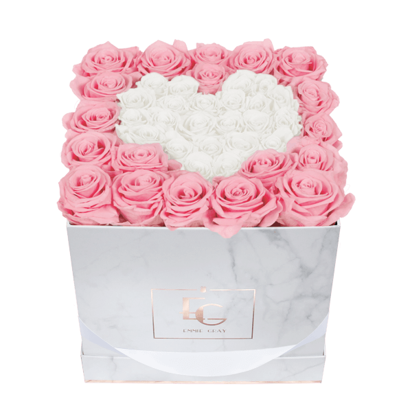 Heart Symbol Infinity Rosebox | Bridal Pink & Pure White | M
