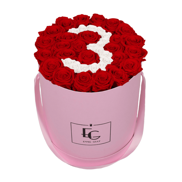 NUMBER INFINITY ROSEBOX | VIBRANT RED & PURE WHITE | L