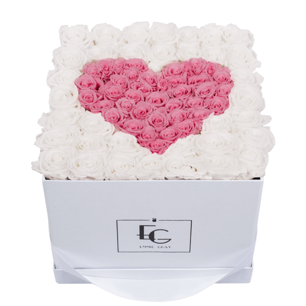 HEART SYMBOL INFINITY ROSEBOX | PURE WHITE & BRIDAL PINK | L